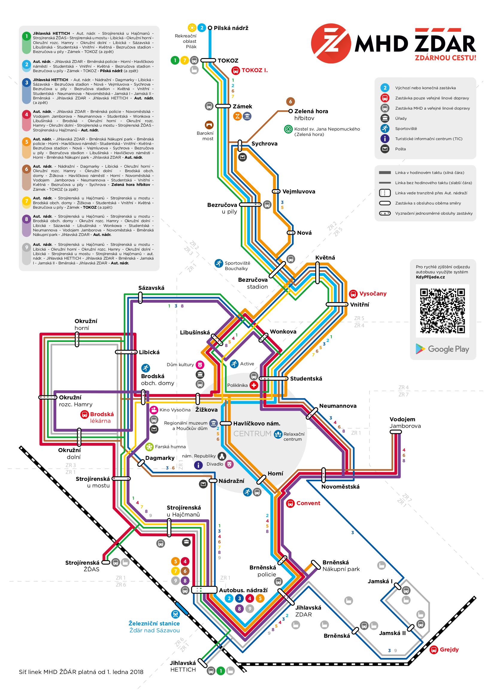 Mapa Zastavek Mhd Zdar Nad Sazavou